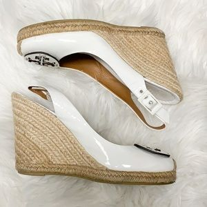 Tory Burch white patent wedge espadrilles